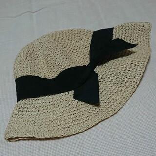 黒色リボン付きハット (麦わら帽子/ストローハット)