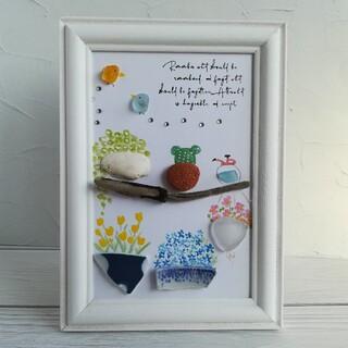 シーグラスアート小鳥と植物*°♡8(アート/写真)
