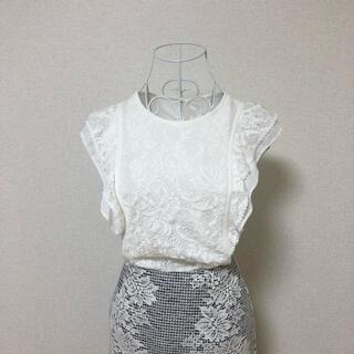 ANAYI - ANAYI レース 刺繍 ラッフル ブラウス トップス ホワイト M