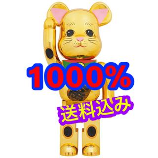 メディコムトイ(MEDICOM TOY)の新品未開封 BE@RBRICK 招き猫 金メッキ 発光 1000%(その他)