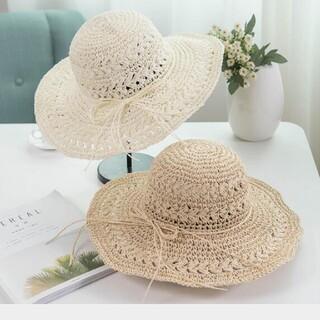 リボン付き手編みストローハット 麦わら帽子 紫外線対策(麦わら帽子/ストローハット)