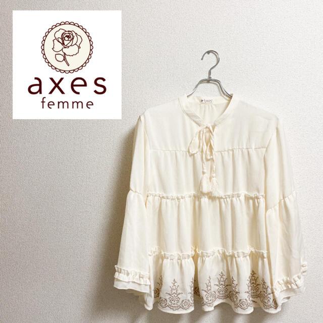 axes femme(アクシーズファム)の【美品】axes femme アクシーズファム 刺繍入り ブラウス レディースのトップス(シャツ/ブラウス(長袖/七分))の商品写真