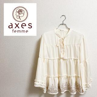 axes femme - 【美品】axes femme アクシーズファム 刺繍入り ブラウス