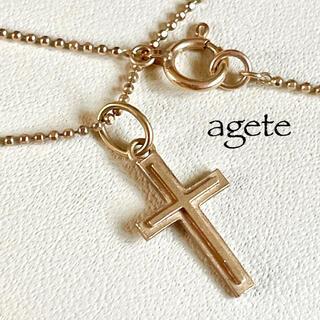 アガット(agete)のアガット*クロスネックレス*K10PG*ピンクゴールド*agete(ネックレス)