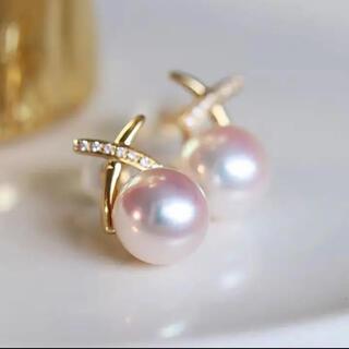 【新作】K18ダイヤモンド付き あこや真珠ピアス