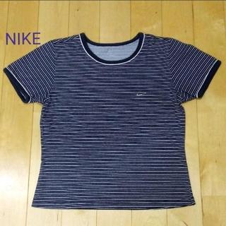 ナイキ(NIKE)のNIKE  ボーダーTシャツ ネイビー×ホワイト 半袖【S~Mサイズ】(Tシャツ(半袖/袖なし))