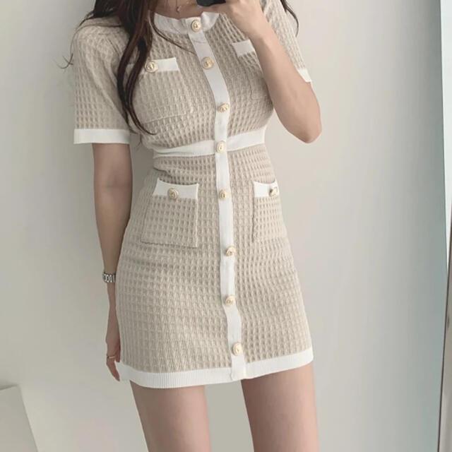 dholic(ディーホリック)のcn♡様専用(7/9まで)✧ミニツイードタイトニットワンピース✧ 半袖・上品 レディースのワンピース(ミニワンピース)の商品写真