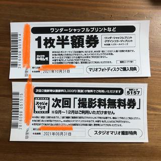 キタムラ(Kitamura)のスタジオマリオ 撮影料無料券 カメラのキタムラ 1枚半額券(アルバム)