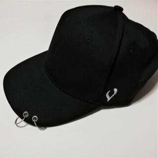 人気 リング キャップ 2連 男女兼用 メンズ レディース 帽子 ブラック