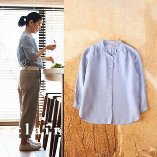 MARGARET HOWELL - マーガレットハウエル リネン 麻100% スタンドカラー シャツ 7分袖 羽織り