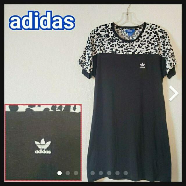 adidas(アディダス)の【夏コーデ】adidas アディダス ワンピース 膝丈 ブラック 黒 柄 レディースのワンピース(ひざ丈ワンピース)の商品写真