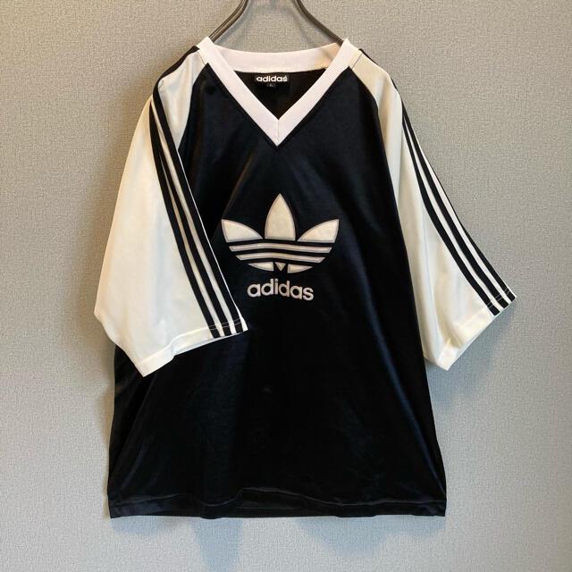 adidas(アディダス)の90s ビンテージ adidas ゲームシャツ Tシャツ ビックロゴ ゆるだぼ レディースのトップス(Tシャツ(半袖/袖なし))の商品写真