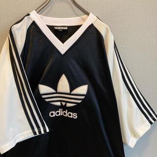 adidas - 90s ビンテージ adidas ゲームシャツ Tシャツ ビックロゴ ゆるだぼ