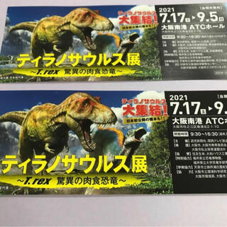 大阪南港 ATC ホール ティラノサウルス展 チケット 招待券 2枚(美術館/博物館)
