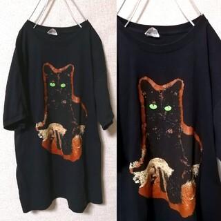 Santa Monica - OLD古着 抽象的な猫がカワイイTシャツ