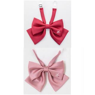 日本製  刺繍入りリボン  SWEET TEEN  レッド & ピンク(ネクタイ)