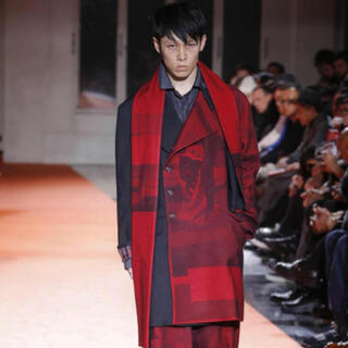 ヨウジヤマモト(Yohji Yamamoto)のyohjiyamamoto 赤フラノ ストールジャケット(テーラードジャケット)