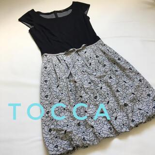 トッカ(TOCCA)のTOCCA  トッカ ドッキングワンピース 刺繍 バルーンスカート リボン (ひざ丈ワンピース)