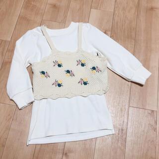 プティマイン(petit main)の新品未使用 プティマイン 110 お花刺繍ビスチェ×ロンTセット(Tシャツ/カットソー)