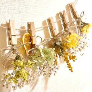 ドライフラワー スワッグ ガーランド ミモザ スターチス 紫陽花 かすみ草