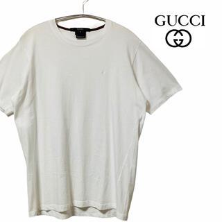 グッチ(Gucci)の【美品】GUCCI グッチ tシャツ 白t 半袖 刺繍ロゴ ワンポイント GG柄(Tシャツ/カットソー(半袖/袖なし))