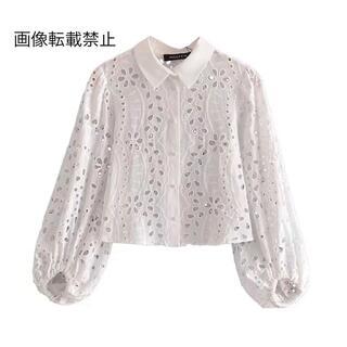 ZARA - 💠6月新作🦋4613◆white ホワイト カットレース 刺繍 シャツ ブラウス