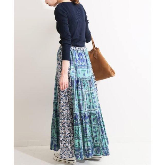 IENA(イエナ)のIENA LA BOUCLE スカーフプリントブロックスカート レディースのスカート(ロングスカート)の商品写真