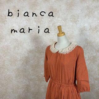 ビアンカマリア(bianca maria)のbianca maria ビアンカマリア 膝丈ワンピース リボン柄 サイズM(ひざ丈ワンピース)