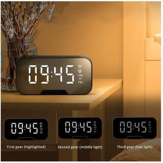 BT02新品未使用 Bluetooth ワイヤレス デジタル時計 スピーカー 黒(置時計)