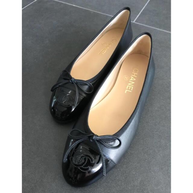 CHANEL(シャネル)のCHANEL バレリーナ ラムスキン×パテント ブラック 38サイズ レディースの靴/シューズ(バレエシューズ)の商品写真