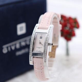 ジバンシィ(GIVENCHY)の正規品【新品電池】GIVENCHY ダイヤベゼル/ピンクシェル 動作良好(腕時計)