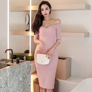 【本日限定セール】jewels系韓国ファッション オフショルキャバドレス ピンク