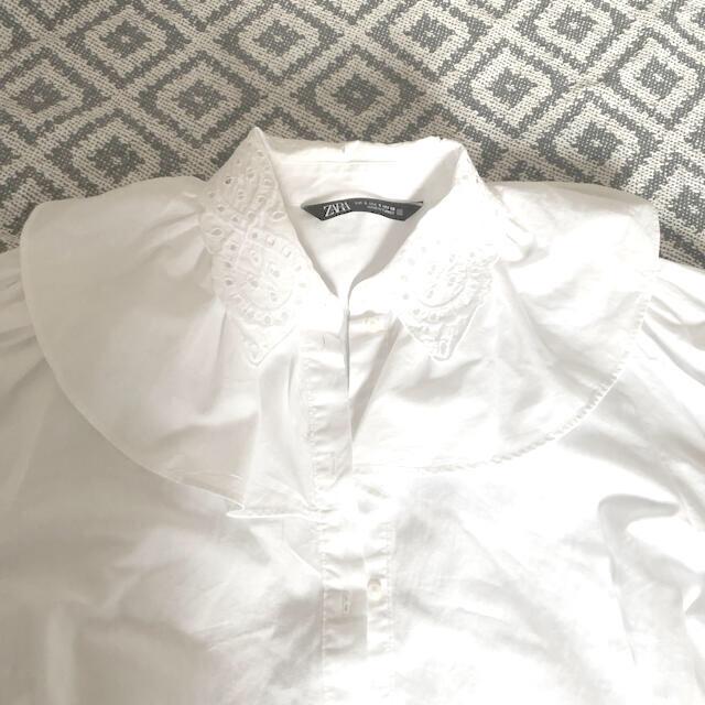 ZARA(ザラ)のZARA フリル 7分袖ブラウス s レディースのトップス(シャツ/ブラウス(長袖/七分))の商品写真