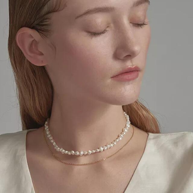 パール ネックレス 淡水 韓国 バロック パールネックレス 海外 レディース 白 レディースのアクセサリー(ネックレス)の商品写真