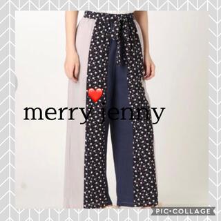 メリージェニー(merry jenny)のメリージェニー 異素材 ワイドパンツ リラックスパンツ 異柄 総柄パンツ ズボン(カジュアルパンツ)