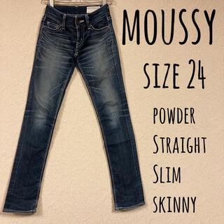 マウジー(moussy)のmoussy powder Straight Slim skinny 24(デニム/ジーンズ)