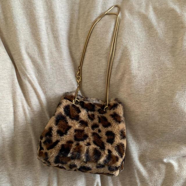 ヒョウ柄 レオパード柄 2way 巾着 バッグ  レディースのバッグ(ショルダーバッグ)の商品写真