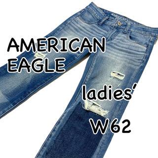 アメリカンイーグル(American Eagle)のAMERICAN EAGLE ジェギング ダメージ リペア加工 US00(デニム/ジーンズ)