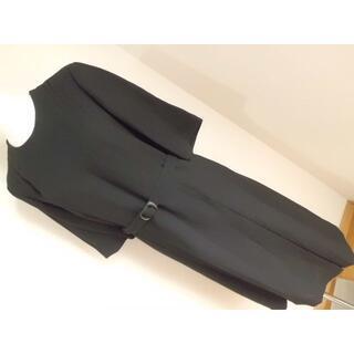 上質夏用喪服2LL13AR大きいサイズ★ブラックフォーマル半袖ワンピースベルト付(礼服/喪服)