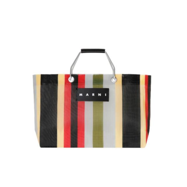Marni(マルニ)のメーコ様専用 マルニフラワーカフェ ストライプバッグミニ イノックスグレー レディースのバッグ(トートバッグ)の商品写真