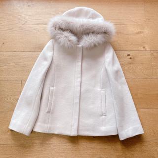 エニィスィス(anySiS)の新品 anysis ショートコート サイズ2 フード ブルー(毛皮/ファーコート)