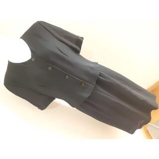 上質夏用喪服2LL13BR大きいサイズ★ブラックフォーマル重ね着風半袖ワンピース(礼服/喪服)