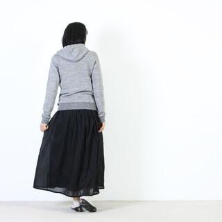 ヤエカ(YAECA)のONE WASH カディコットン ロングギャザースカート ネイビー(ロングスカート)