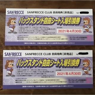 サンフレッチェ広島  バックスタンド入場引換券2枚(サッカー)
