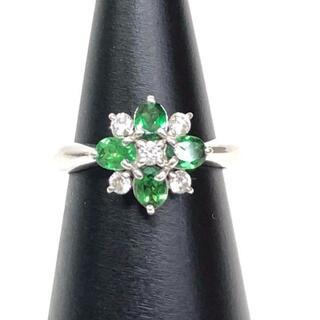 【期間限定】0.6ctツァボライト、ダイヤモンド付、花モチーフ、Pt900リング(リング(指輪))