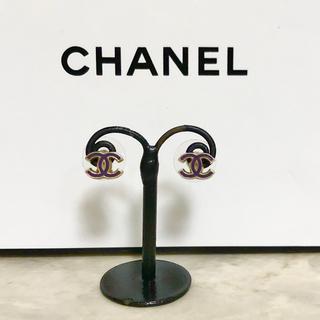 CHANEL - 正規品 シャネル ピアス ミニ ゴールド 金 ココマーク ロゴ パープル 紫 青