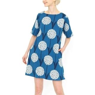 グラニフ(Design Tshirts Store graniph)のgraniph ボートネック 5分袖 ワンピース アリウムフラワー  (カットソー(半袖/袖なし))