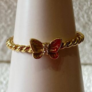 【美品】k18 蝶々 ダイヤ リング