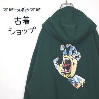 【人気カラー⭐︎】SANTA CRUZ バックプリント 古着 パーカー 緑 L