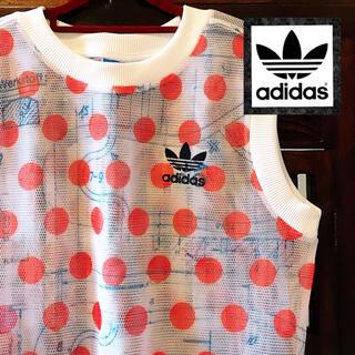 adidas - アディダス 新品 シースルー 赤 ドット柄 チュール Tシャツ ジャージ 水玉